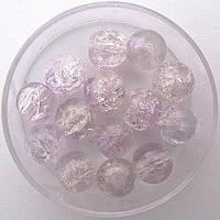 """Бусины """"Crackle"""" колотый лед 8 мм бледно-сиреневые (примерно 100-110 шт бусин)"""