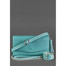 Кожаная женская сумка Элис бирюзовая, фото 3