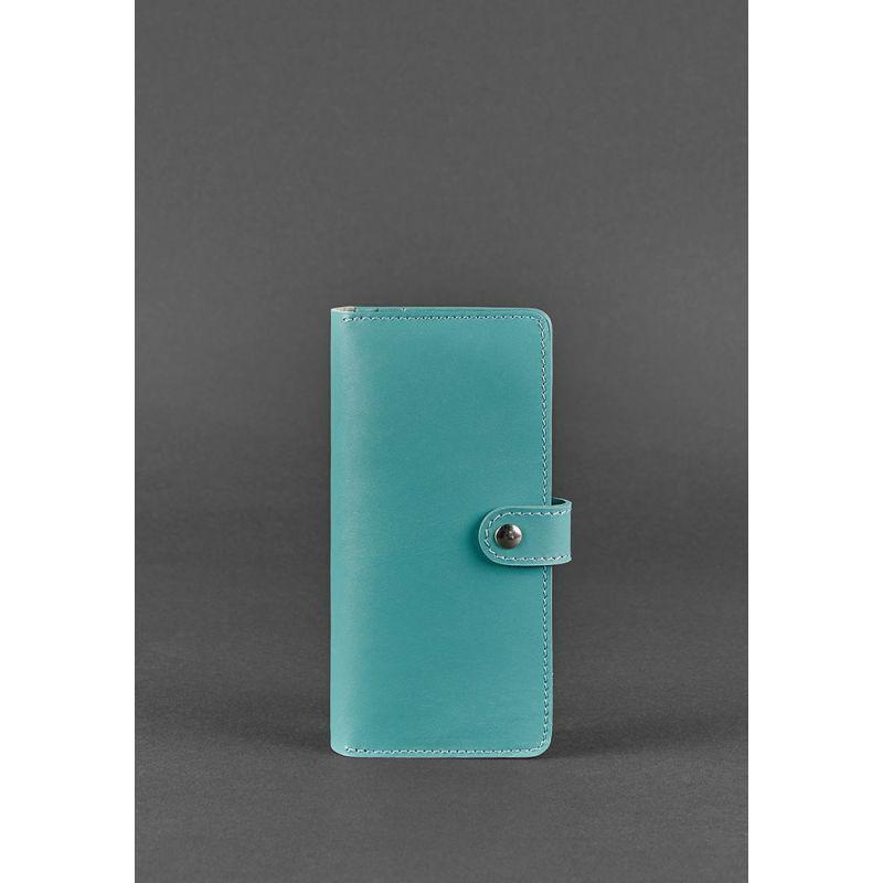 Кожаное женское портмоне 7.0 бирюзовое