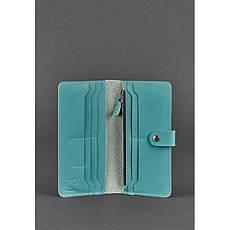 Шкіряне жіноче портмоне 7.0 бірюзове, фото 2
