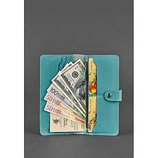 Кожаное женское портмоне 7.0 бирюзовое, фото 3