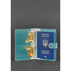 Женская кожаная обложка для паспорта 3.0 бирюзовая, фото 2