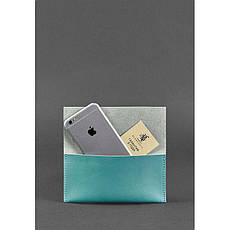 Кожаный чехол для смартфона бирюзовый, фото 2