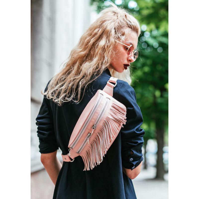Кожаная женская сумка на пояс Spirit розовая