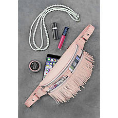 Кожаная женская сумка на пояс Spirit розовая, фото 2