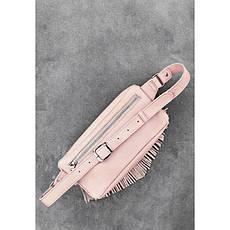 Кожаная женская сумка на пояс Spirit розовая, фото 3