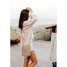 Кожаная женская сумка с бахромой мини-кроссбоди Fleco светло-бежевая, фото 2
