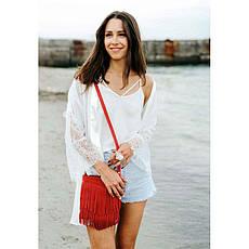 Кожаная женская сумка с бахромой мини-кроссбоди Fleco красная, фото 3