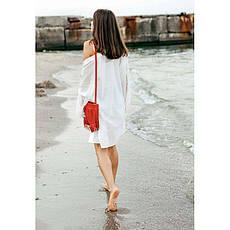 Кожаная женская сумка с бахромой мини-кроссбоди Fleco красная, фото 2