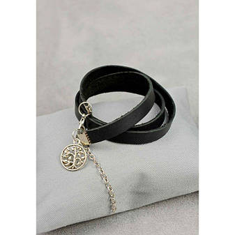 Женский кожаный браслет - лента черный, фото 2