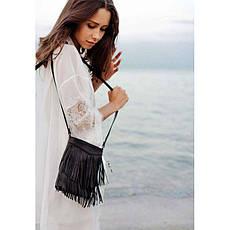 Кожаная женская сумка с бахромой мини-кроссбоди Fleco черная, фото 2