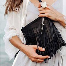 Кожаная женская сумка с бахромой мини-кроссбоди Fleco черная, фото 3