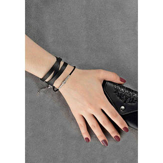 Женский кожаный браслет с металлическими бусинами черный, фото 2