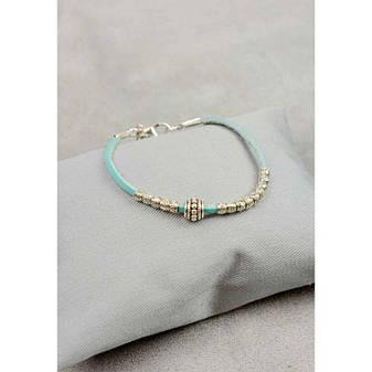 Женский кожаный браслет с металлическими бусинами бирюзовый, фото 2