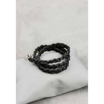 Женский кожаный браслет тонкая косичка черный, фото 2