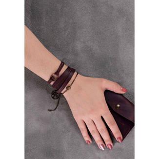 Женский кожаный браслет с кольцом бордовый, фото 2