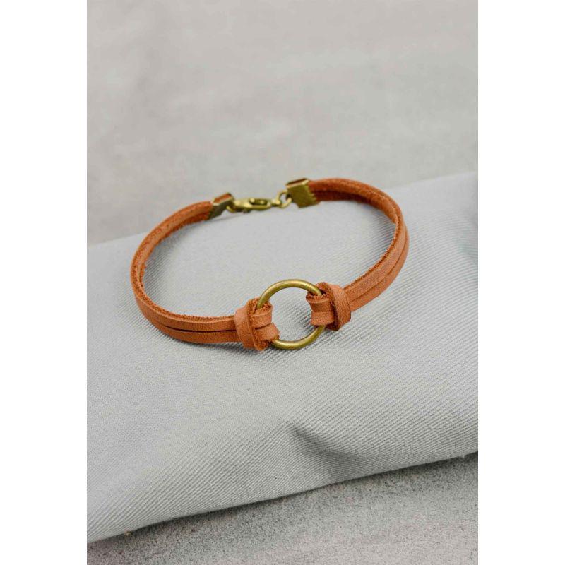 Кожаный браслет с кольцом светло-коричневый