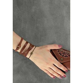 Кожаный браслет с кольцом светло-коричневый, фото 2