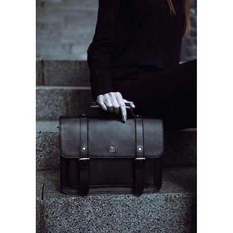 Кожаный сэтчел черный Blank - Black Point, фото 2