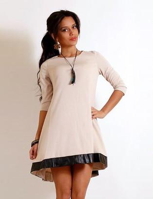 Бежевое платье мини Д-1583