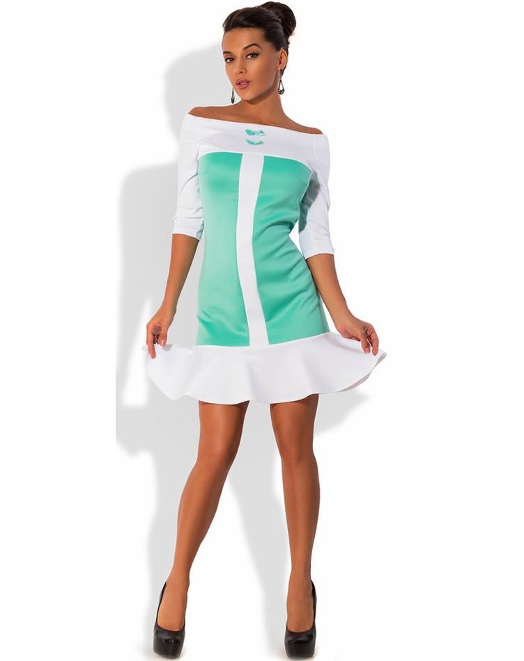 Модное мини платье белое с мятным Д-1581