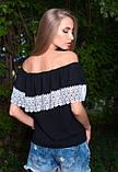 Черная блуза с белым кружевом, фото 2