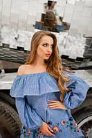 Свободная блуза в мелкую синюю клетку