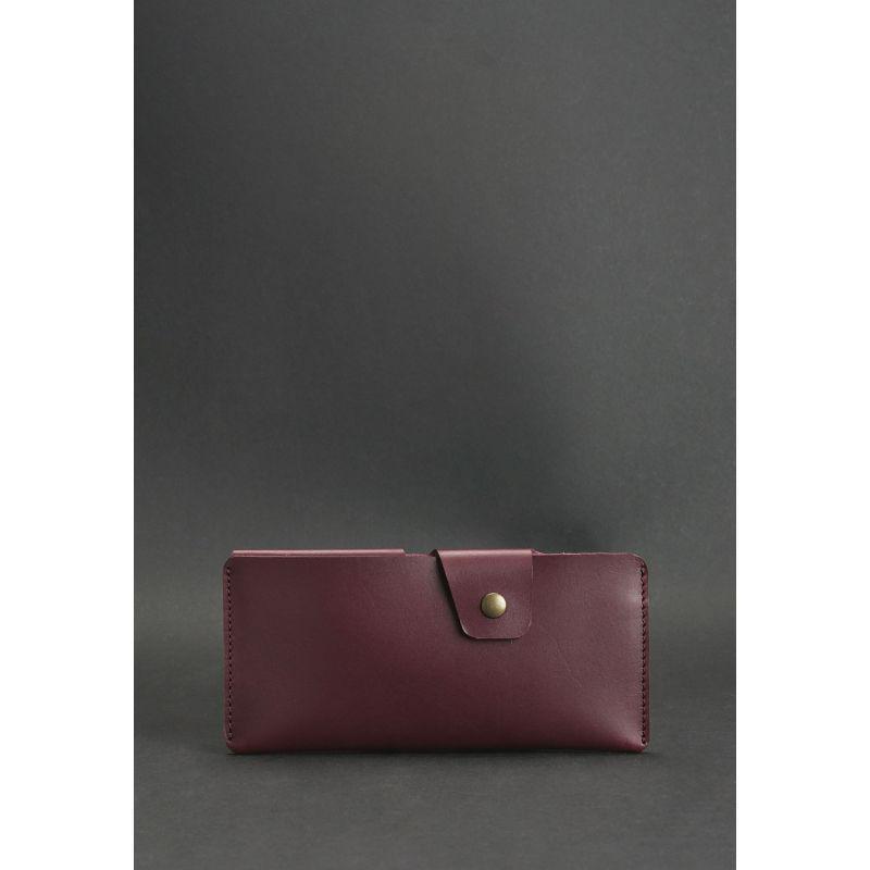 Женское кожаное портмоне-купюрник 8.0 бордовое