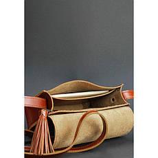 Кожаная женская бохо-сумка Лилу светло-коричневая, фото 3