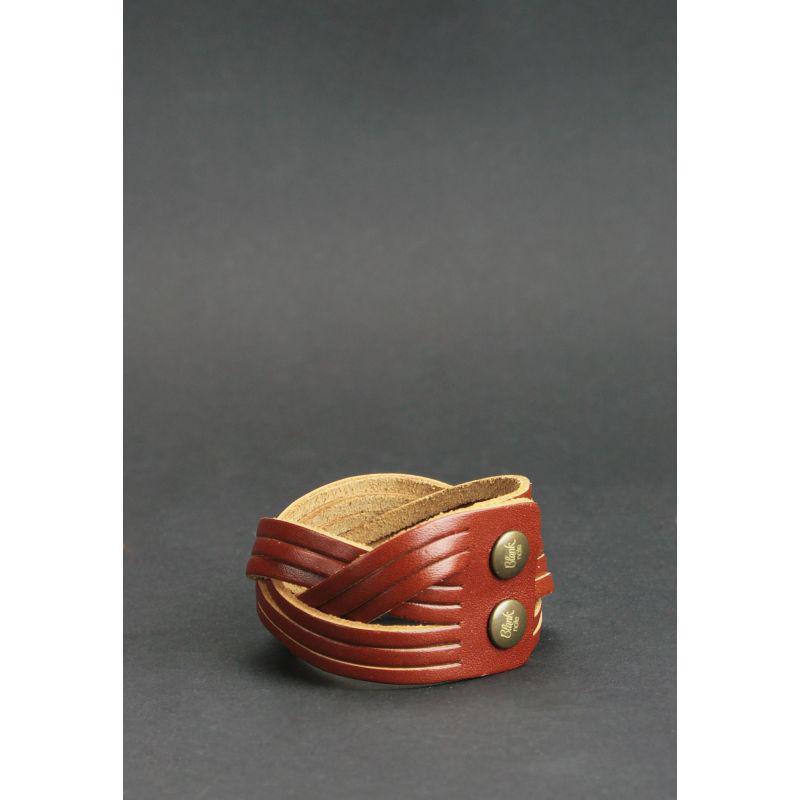 Кожаный браслет косичка светло-коричневый