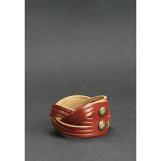 Кожаный браслет косичка светло-коричневый, фото 2