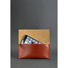 Кожаный чехол для смартфона светло-коричневый, фото 2