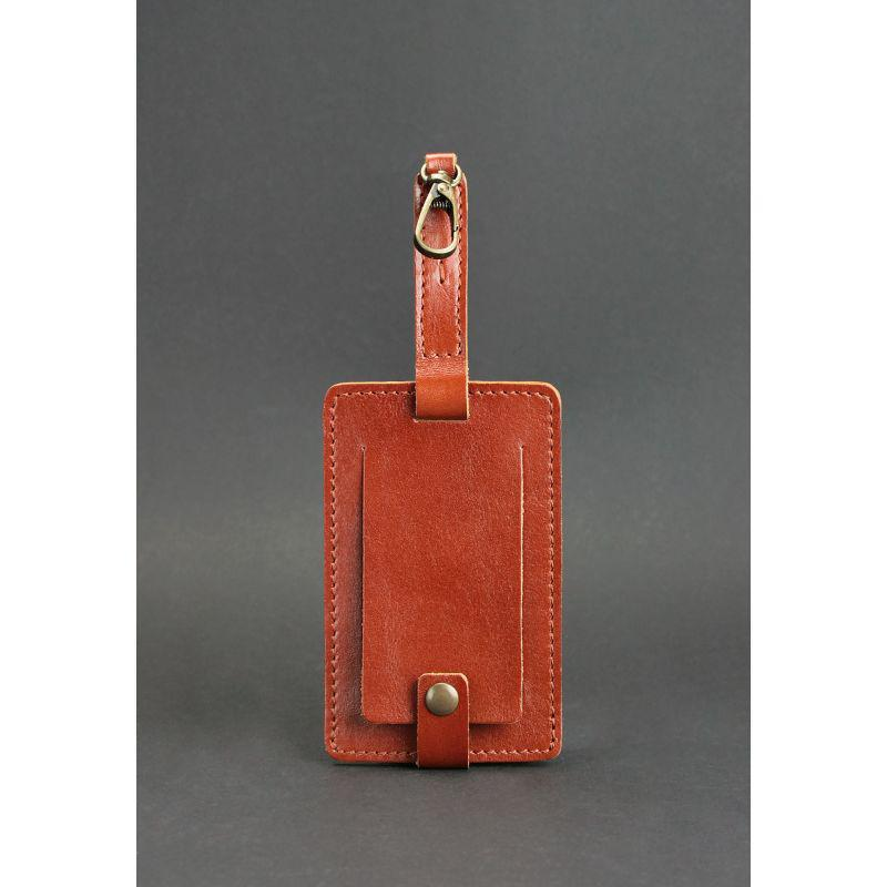Кожаная бирка для багажа Бланк-тэг светло-коричневая