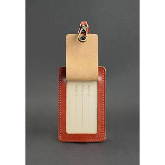 Кожаная бирка для багажа Бланк-тэг светло-коричневая, фото 2