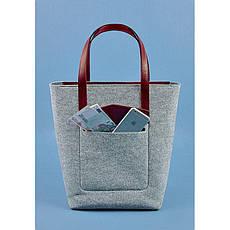 Фетровая женская сумка Шоппер D.D. с кожаными бордовыми вставками, фото 2