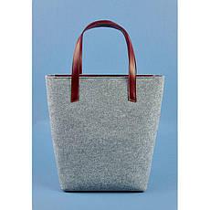 Фетровая женская сумка Шоппер D.D. с кожаными бордовыми вставками, фото 3