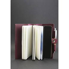 Женский кожаный  блокнот (Софт-бук) 4.0 бордовый, фото 2
