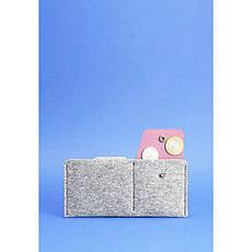 Фетровое женское портмоне-купюрник 8.0 с кожаными бордовыми вставками, фото 3