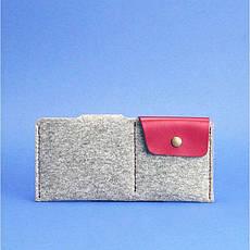 Фетровое женское портмоне-купюрник 8.0 с кожаными бордовыми вставками, фото 2