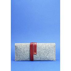 Тревел-кейс женский 1.0 из фетра с кожаными бордовыми вставками, фото 2