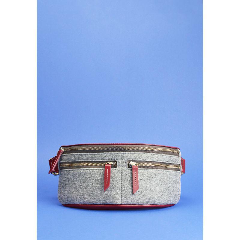 Фетровая женская поясная сумка Spirit с кожаными бордовыми вставками