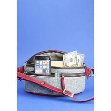 Фетровая женская поясная сумка Spirit с кожаными бордовыми вставками, фото 2