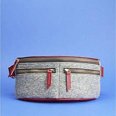 Фетровая женская поясная сумка Spirit с кожаными бордовыми вставками, фото 3