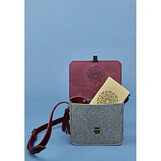 Фетровая женская бохо-сумка Лилу с кожаными бордовыми вставками, фото 2