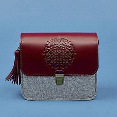 Фетровая женская бохо-сумка Лилу с кожаными бордовыми вставками, фото 3