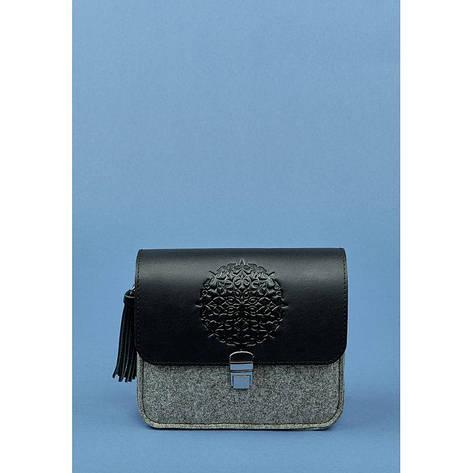 Фетровая женская бохо-сумка Лилу с кожаными черными вставками, фото 2