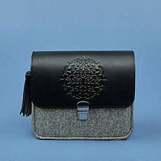 Фетровая женская бохо-сумка Лилу с кожаными черными вставками, фото 3