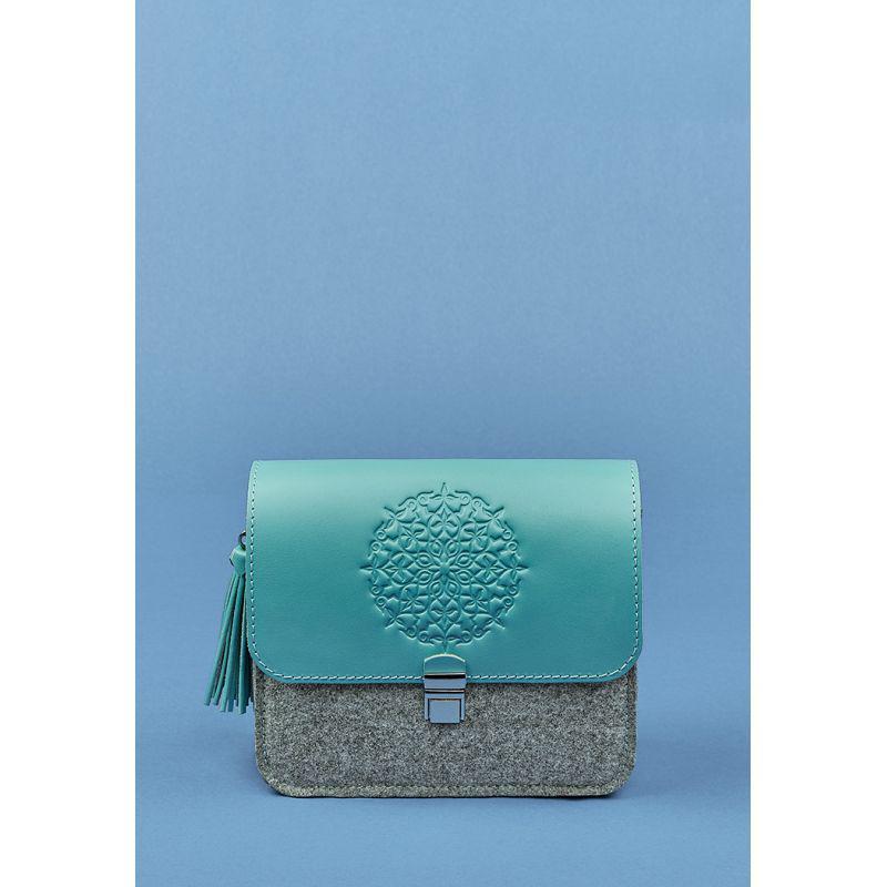 Фетровая женская бохо-сумка Лилу с кожаными бирюзовыми вставками
