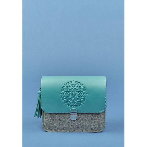 Фетровая женская бохо-сумка Лилу с кожаными бирюзовыми вставками, фото 2