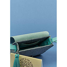 Фетровая женская бохо-сумка Лилу с кожаными бирюзовыми вставками, фото 3